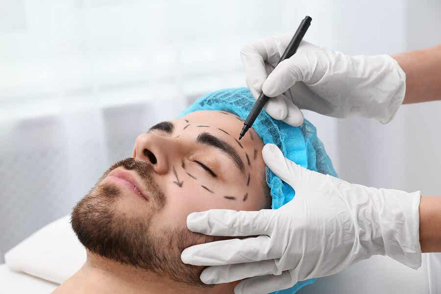 A man getting surgery on his face