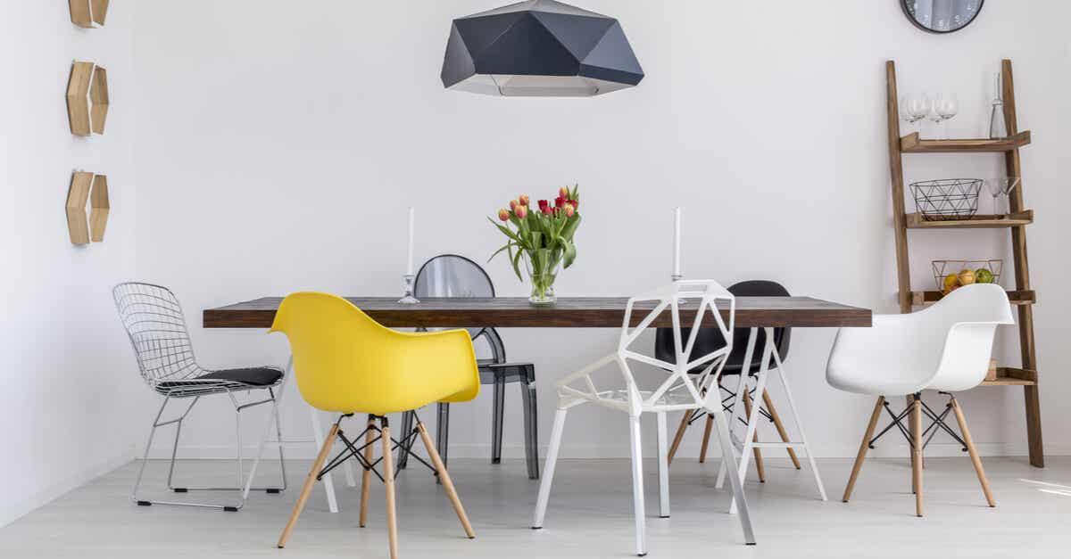 A modern dining table and chairs.