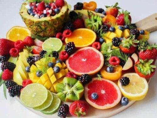 An array of fruit.