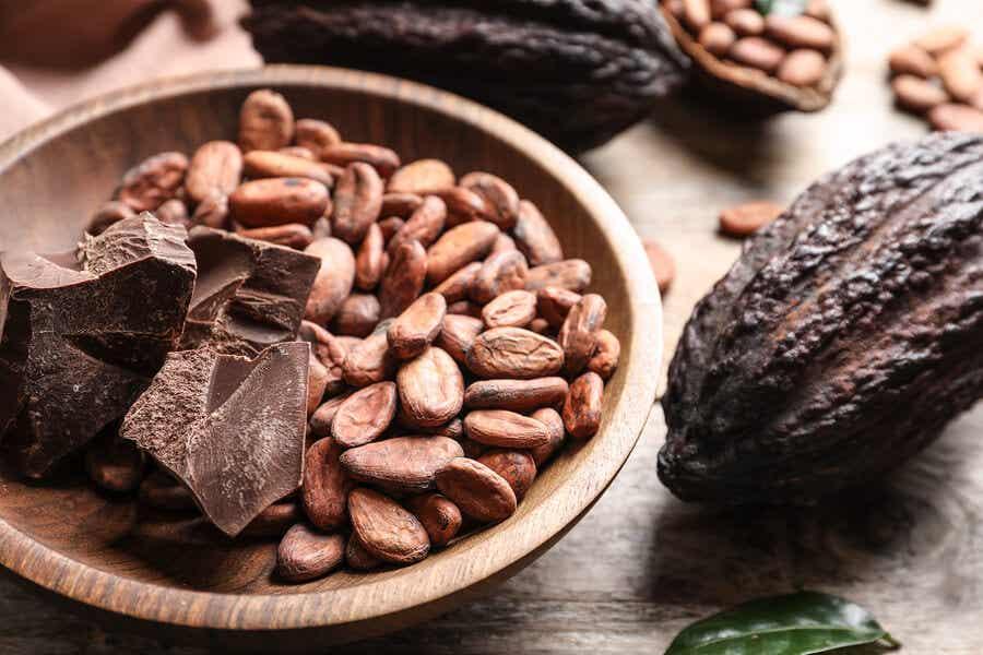 Kakaobønner med bearbeidet kakao.