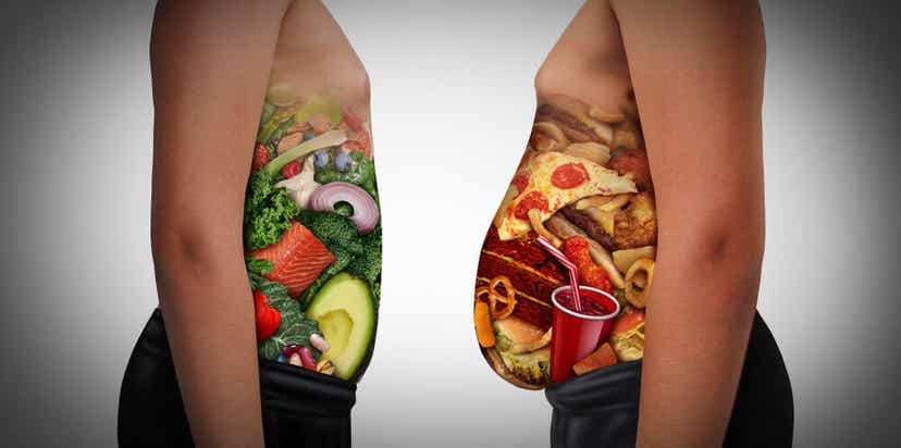 A belly full of healthy foods compared to a larger belly full of junk food.
