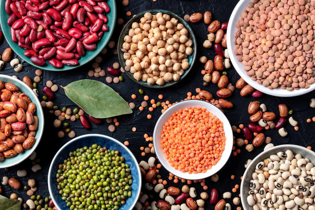 A selection of colorful legumes.