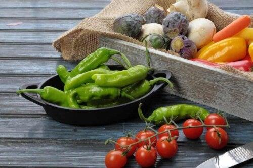 Ibarra-Chili-Schoten, Tomaten und verschiedene Gemüse